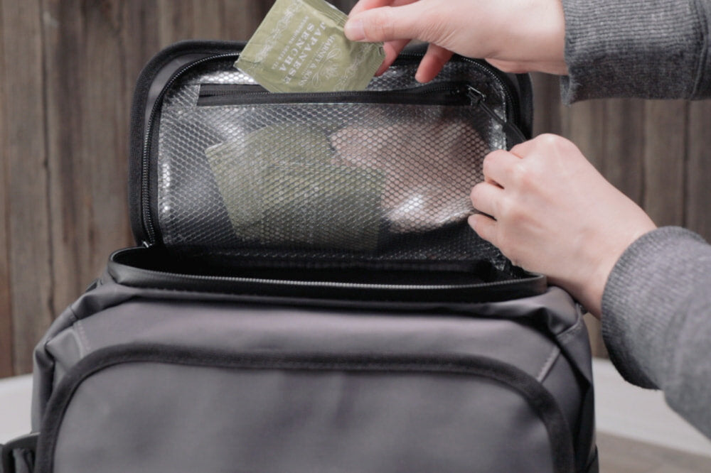 Pockets and compartments on backpack