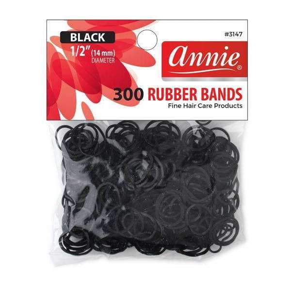 Annie Black Medium Rubber Bands (300ct)
