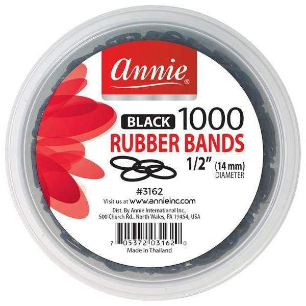Annie Medium Black Rubber Bands (1000ct)
