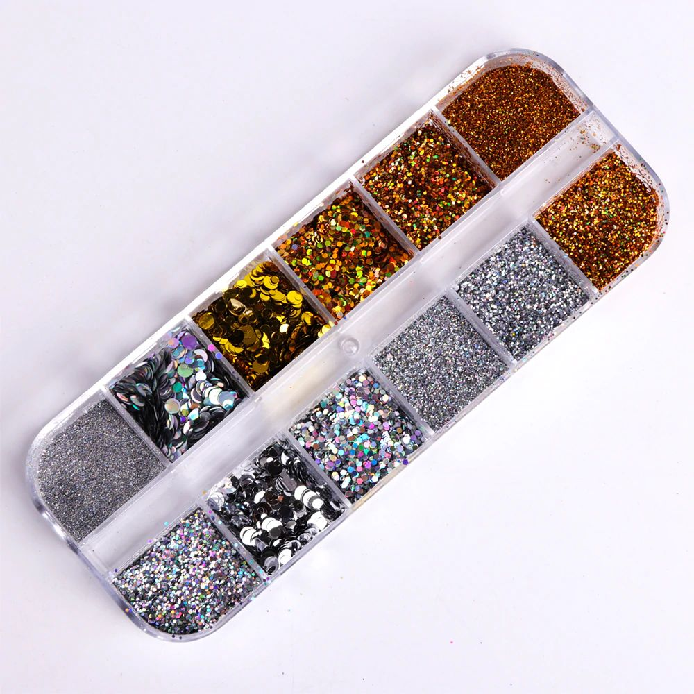 Gold & Silver Glitter Nail Art Case
