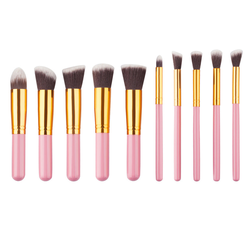 Golden Makeup Brush Set - 10 Pieces