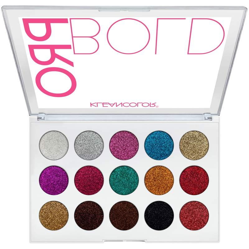 KleanColor PRO BOLD Pressed Glitter Eyeshadow Palette (Flashy)