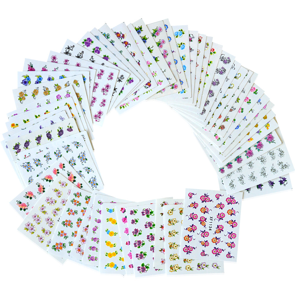 Floral Nail Art Sticker Set (50-Pack)