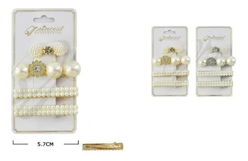 Princess Accessories 4-Piece Pearl Hair Clip Set