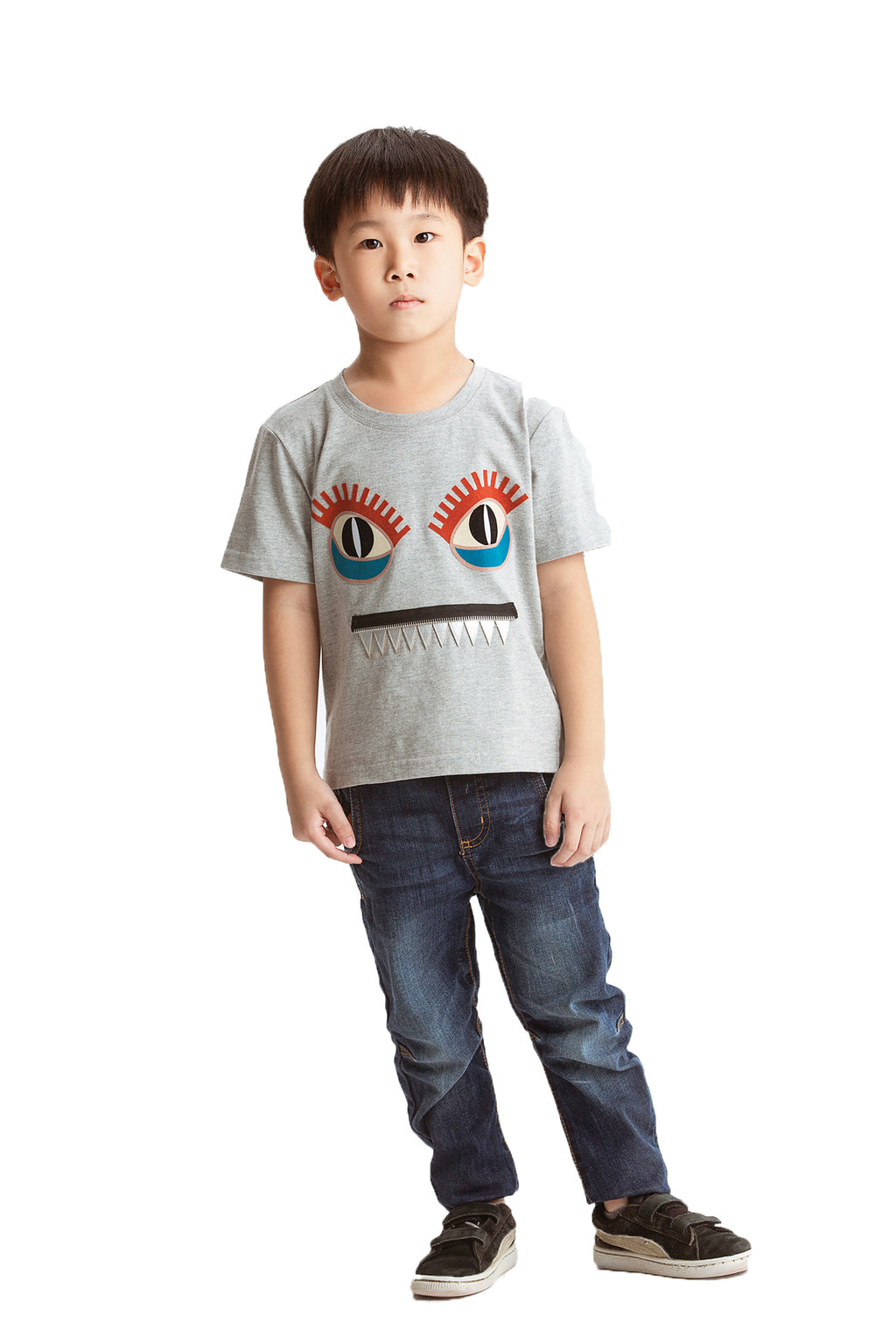 Little Mons T-Shirt for Kids - Grey