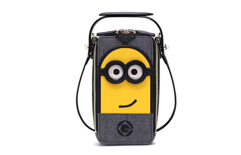 Minions Denim with Cow Leather Crossbody & Shoulder Bag