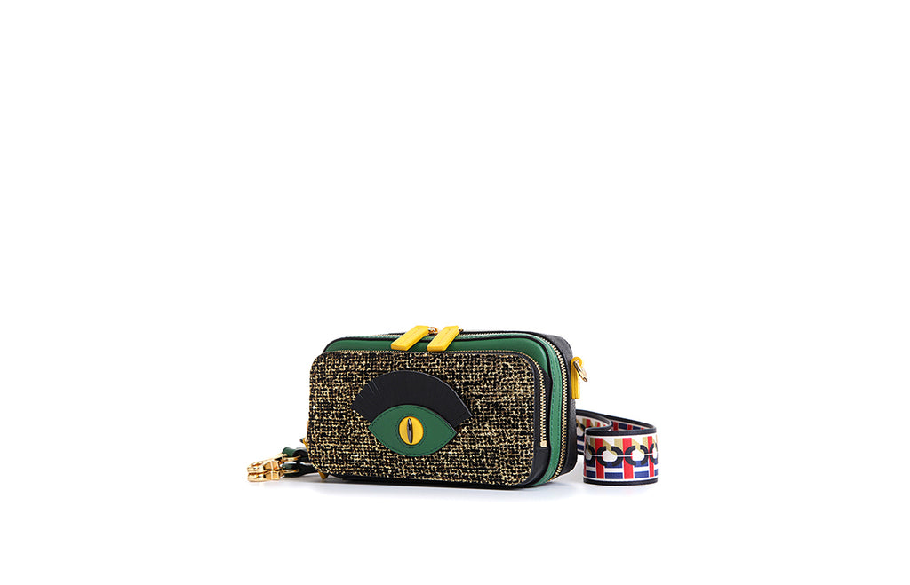 Little Mons Jacquard with Leather Shoulder Bag