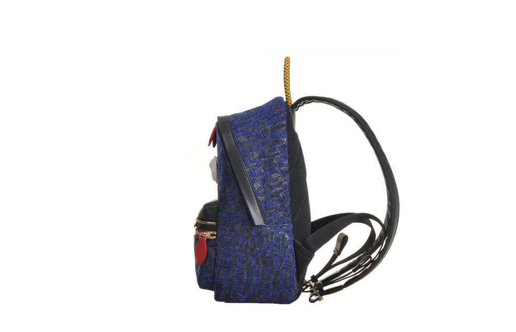 Little Mons Jacquard with Leather Backpack-Large