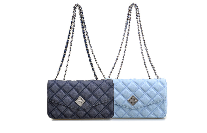 Denim Jacquard with Leather Crossbody & Shoulder Handbag
