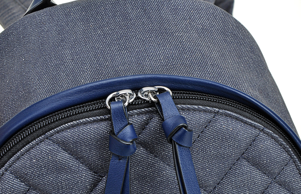 Denim Jacquard with Leather Backpack