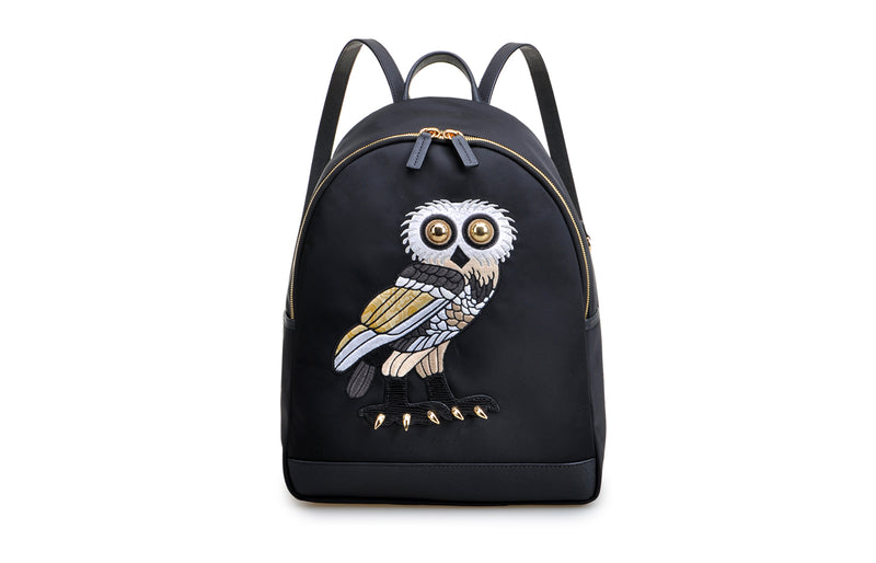 FION X British Museum OWL Jacquard with Leather Backpack