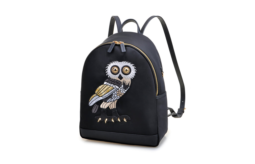 FION X The British Museum Greek Owl Jacquard with Leather Backpack