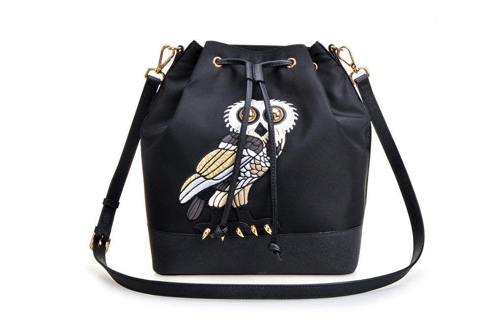 FION X The British Museum Greek Owl Jacquard with Leather Crossbody & Shoulder Handbag