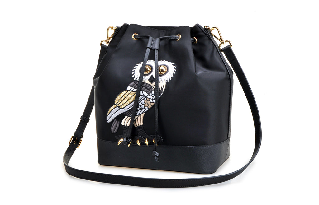 FION X British Museum OWL Jacquard with Leather Crossbody & Shoulder Handbag