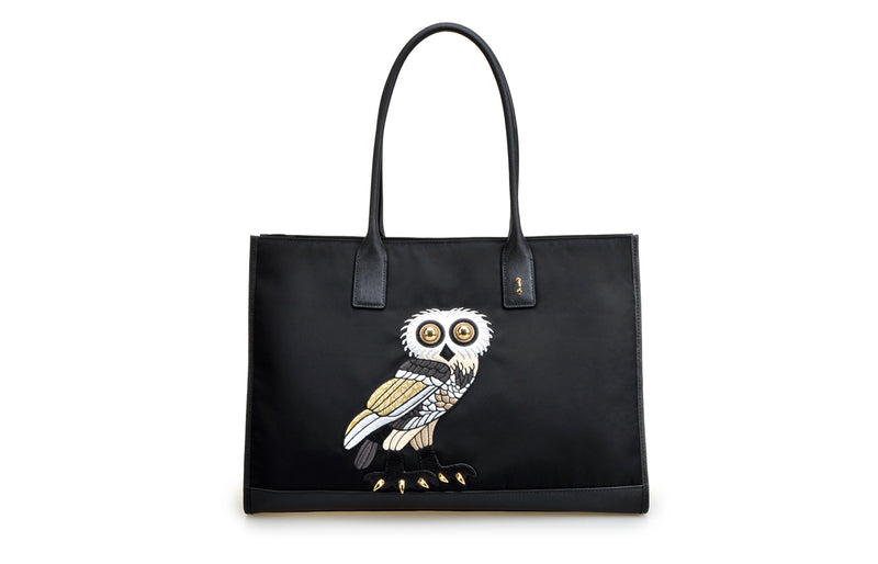 FION X The British Museum OWL Jacquard with Leather Tote Handbag