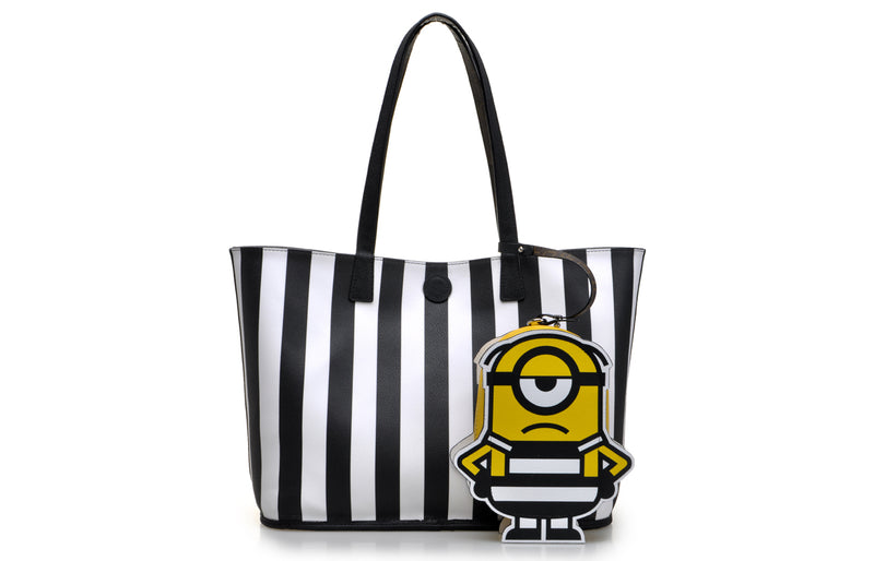 Minions PVC with Leather Tote Bag with A Minion Leather Pouch