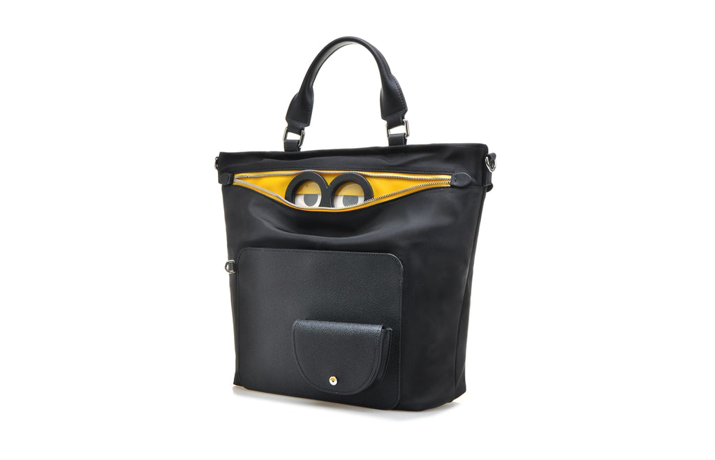 Minions Jacquard with Leather Top Handle Handbag