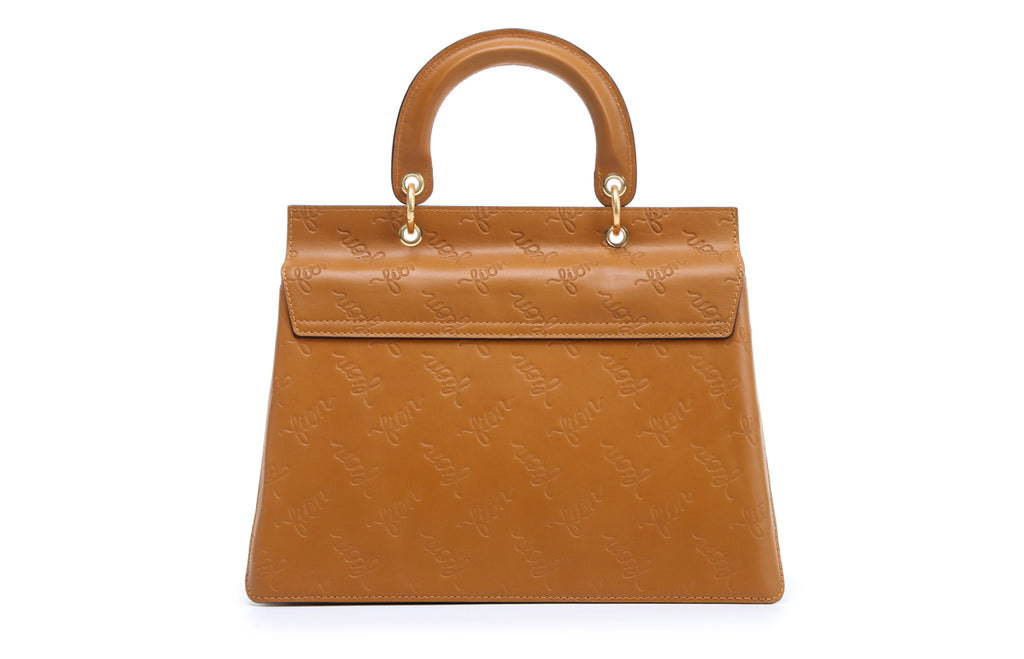 Emboss Leather Top Handle Handbag
