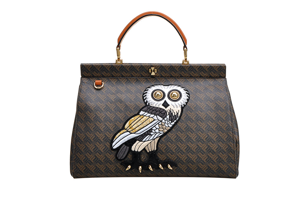 FION X British Museum OWL PVC with Leather Top Handle Handbag
