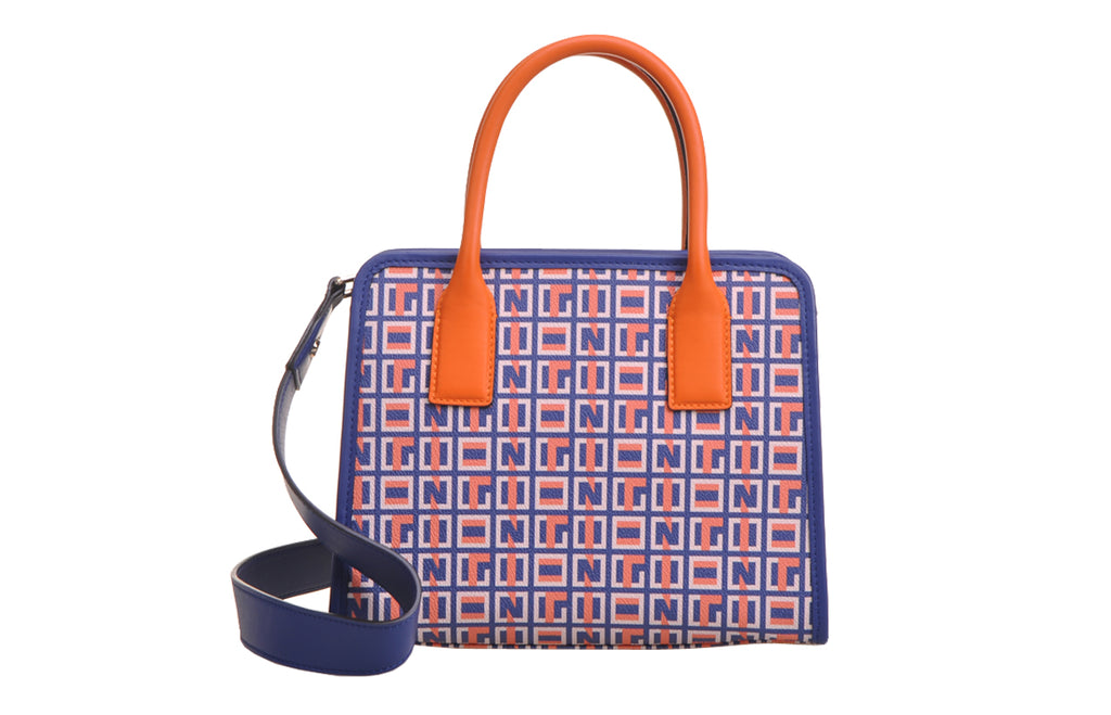 Summer Puzzle PVC with Leather Top Handle Handbag