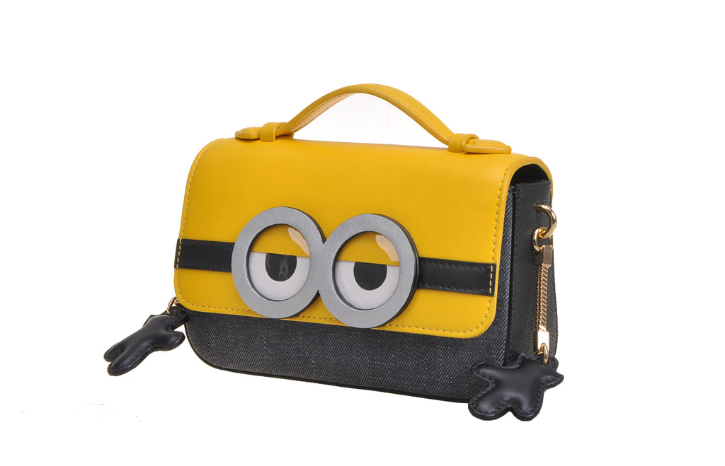 Minions Jacquard with Leather Crossbody & Shoulder Handbag