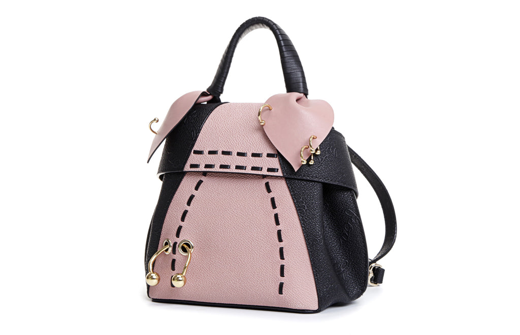 Piggy PVC with Leather Top Handle Handbag