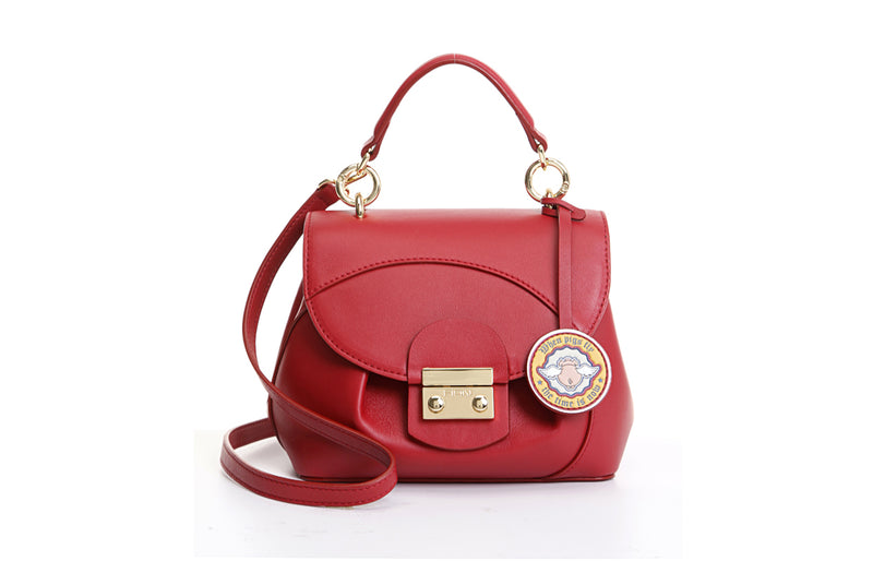 Pets-Leather Top Handle Handbag