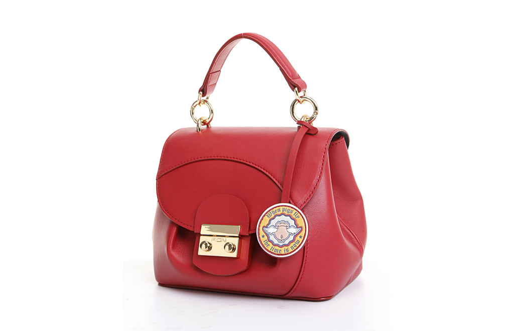 Piggy Leather Top Handle Handbag