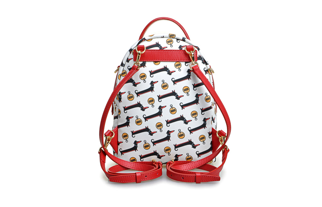 Dachshund Jacquard with Leather Backpack