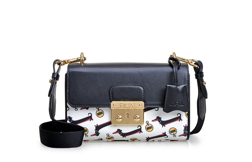 """The Secret Life of Pets 2"" X FION Dachshund Jacquard with Leather Crossbody & Shoulder Handbag"