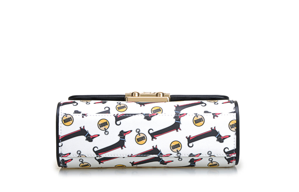 Dachshund Jacquard with Leather Crossbody & Shoulder Handbag
