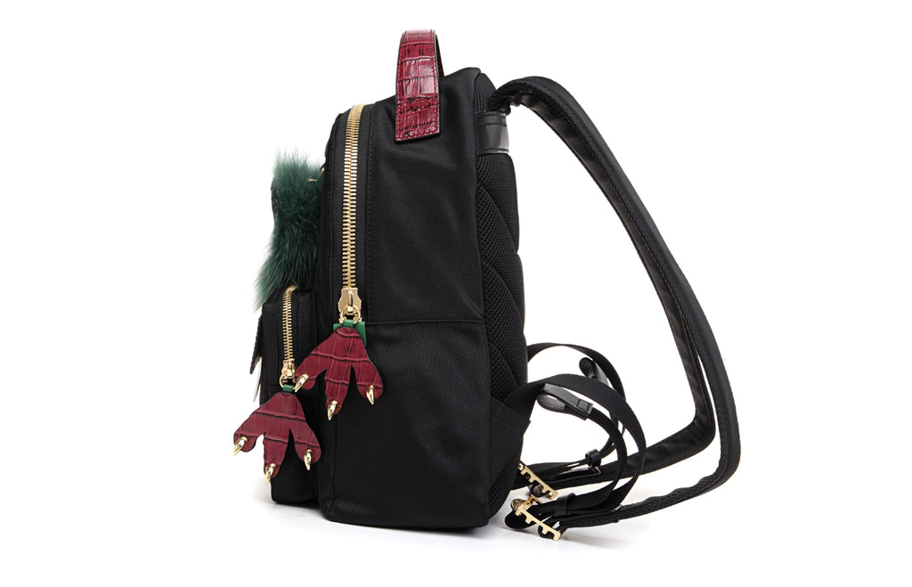 Little Mons Jacquard with Leather Backpack with Little Mons Charm