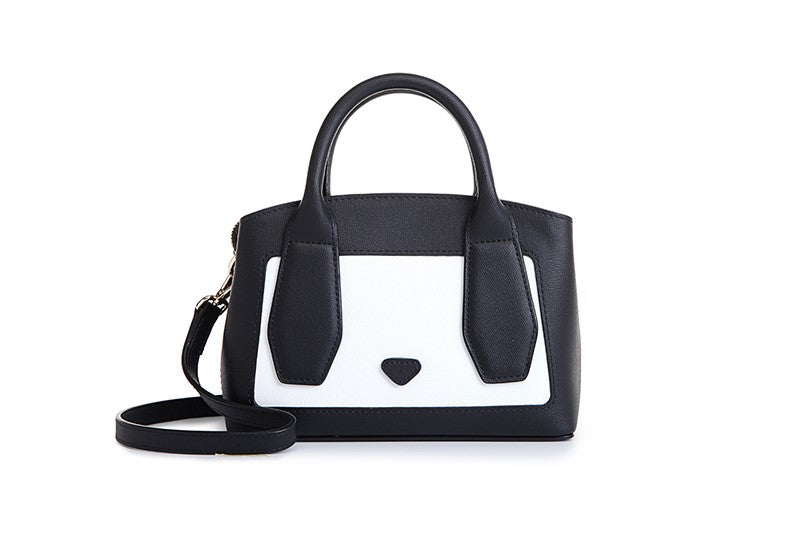 Panda Faux Leather Top handle Handbag
