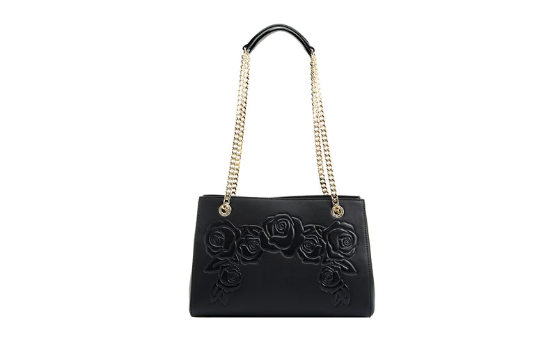 Roses Love Leather Top Handle Handbag