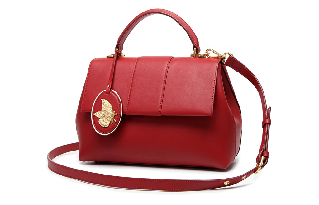 Butterfly Leather Top Handle Handbag