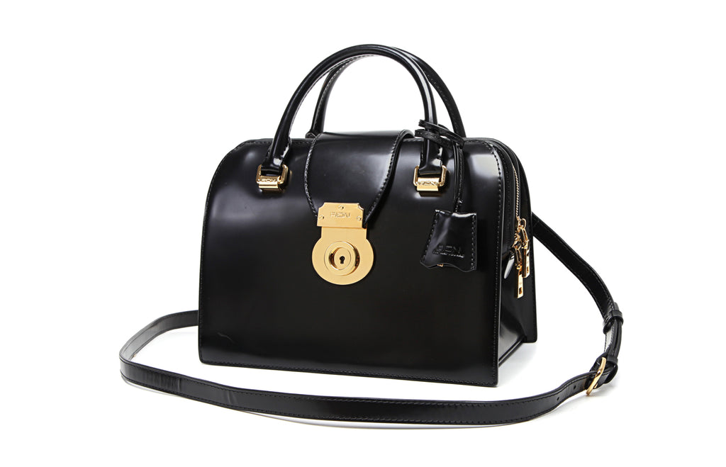 Square Leather Top Handle Handbag