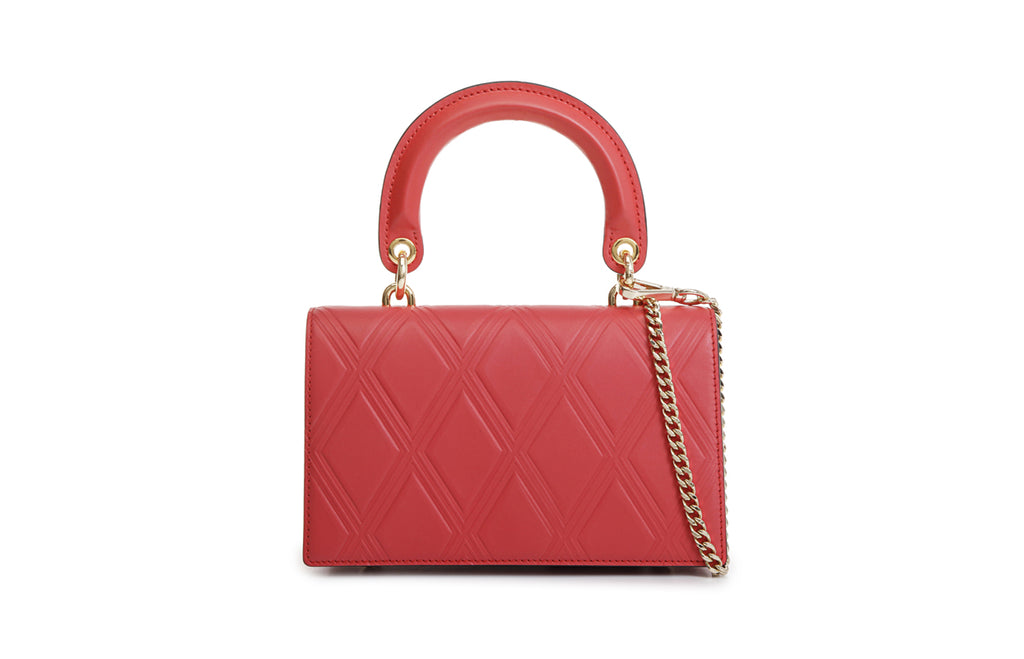 Lattice Leather Top Handle Handbag
