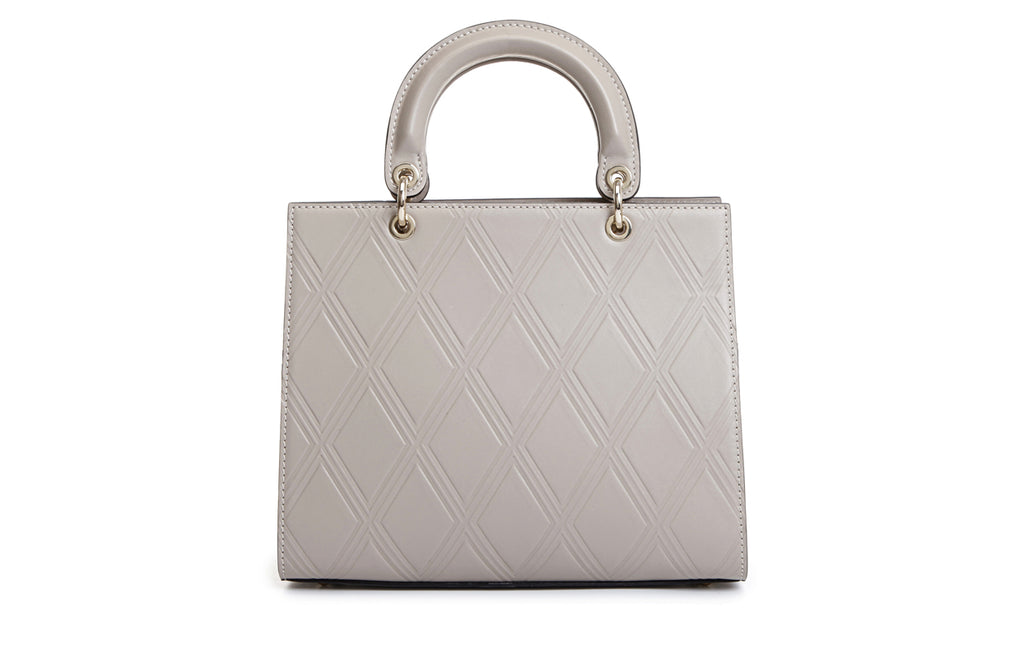 Lattice Leather Top Handle Handbag Medium