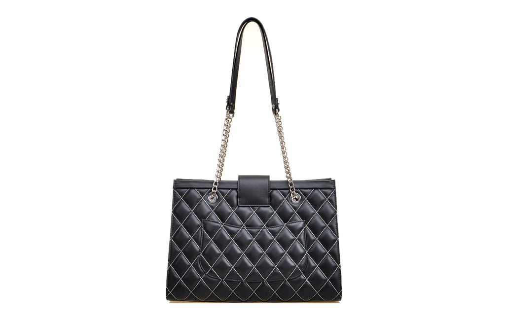 Argyle Leather Tote Handbag