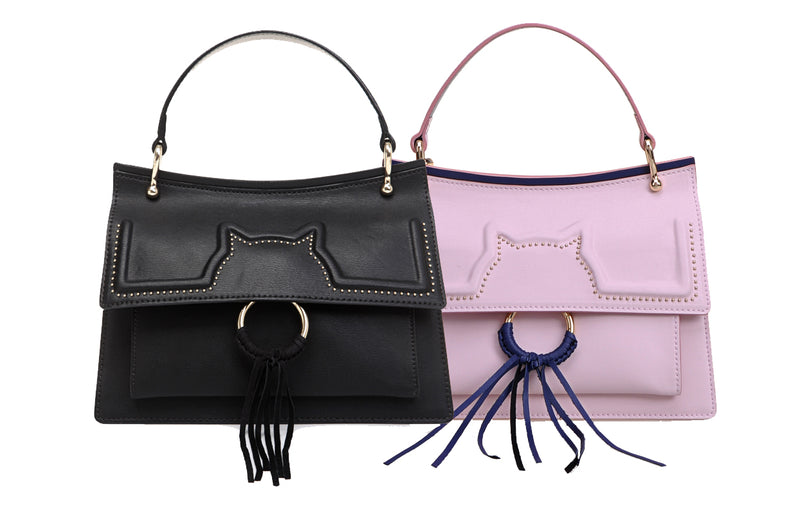 Meow Leather Top Handle Handbag