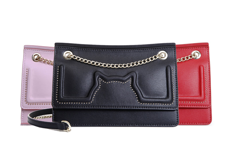 Meow Leather Crossbody & Shoulder Handbag