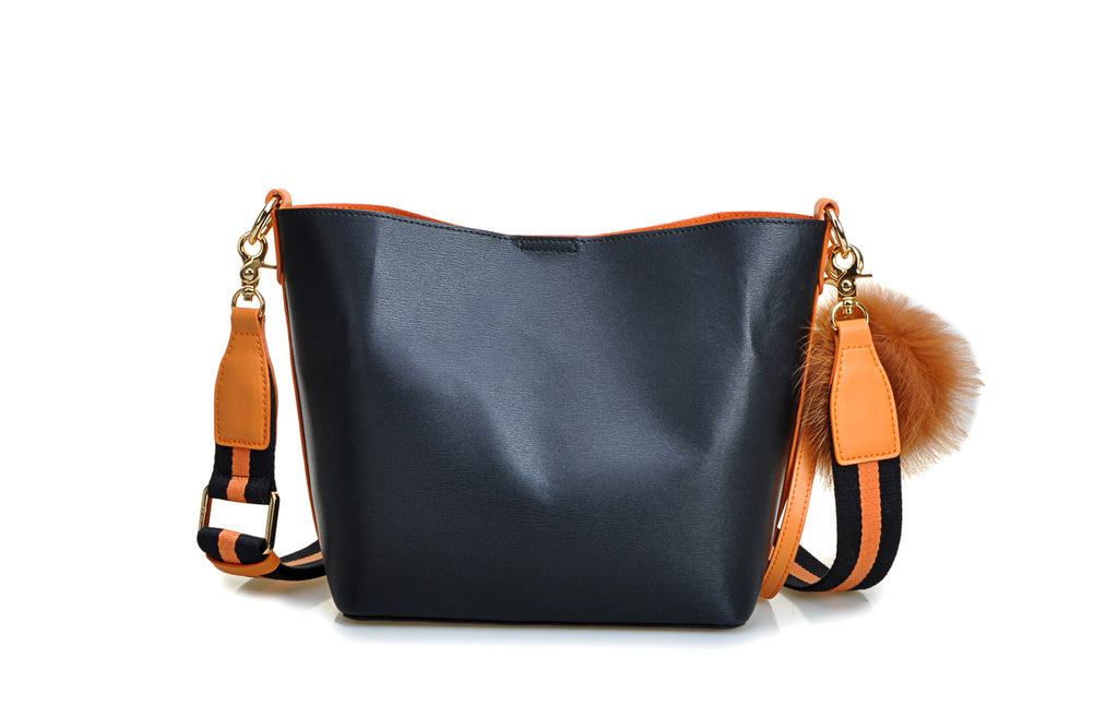 Mix & Match Leather Crossbody & Shoulder Handbag - Orange