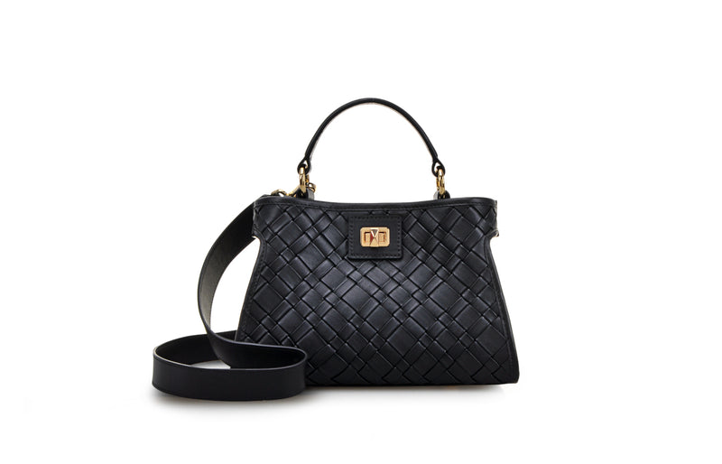 Woven Leather Top Handle Bag