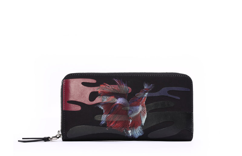 Rumble Fish Jacquard with Leather Long Zip Wallet