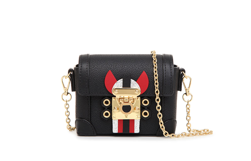 "Little Mons ""Forest Elf"" Leather with PVC Crossbody & Shoulder Mini Handbag - Black"