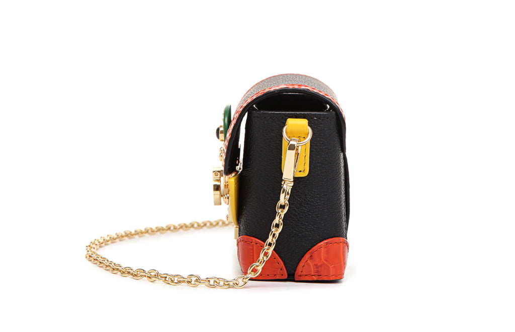 "Little Mons ""Forest Elf"" Leather with PVC Crossbody & Shoulder Mini Handbag - Orange"