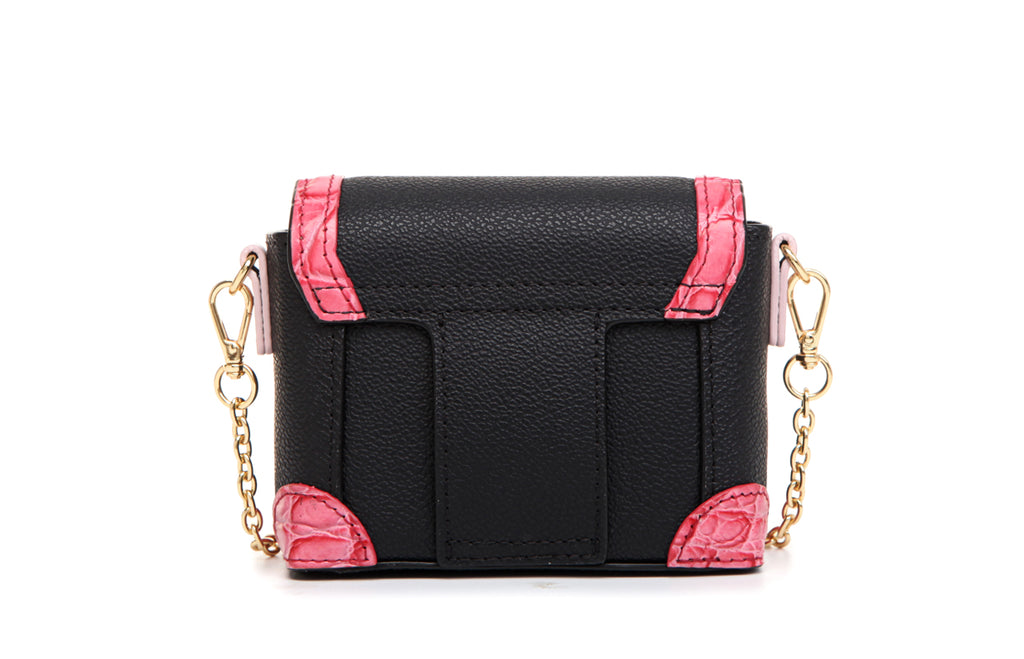 "Little Mons ""Forest Elf"" Leather with PVC Crossbody & Shoulder Mini Handbag - Pink"