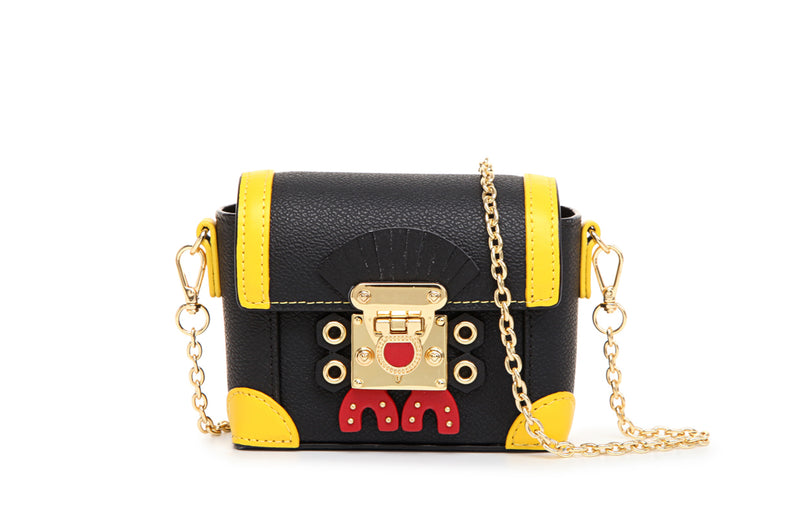 "Little Mons ""Forest Elf"" Leather with PVC Crossbody & Shoulder Mini Handbag - Yellow"