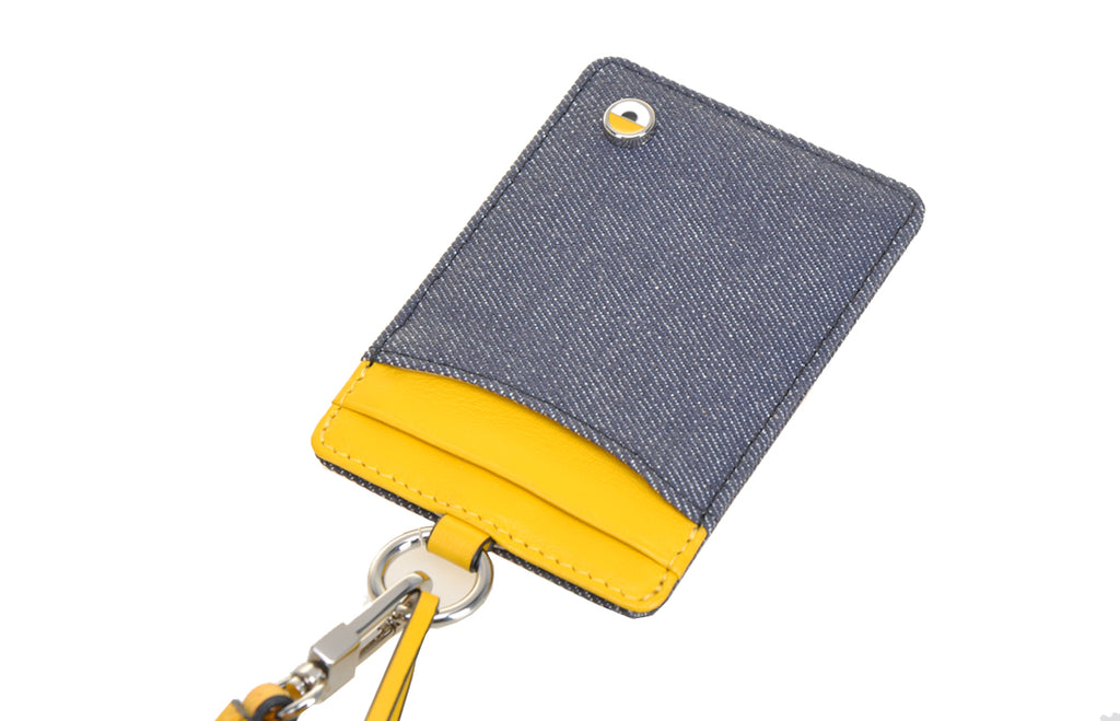 Minions Leather with Denim Neck ID Holder