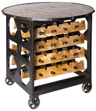 BRIX - Large Industrial Wine Rack and Table on Wheels